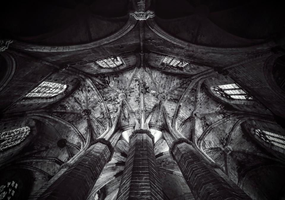 architecture building infrastructure church cathedral ceiling dome black and white