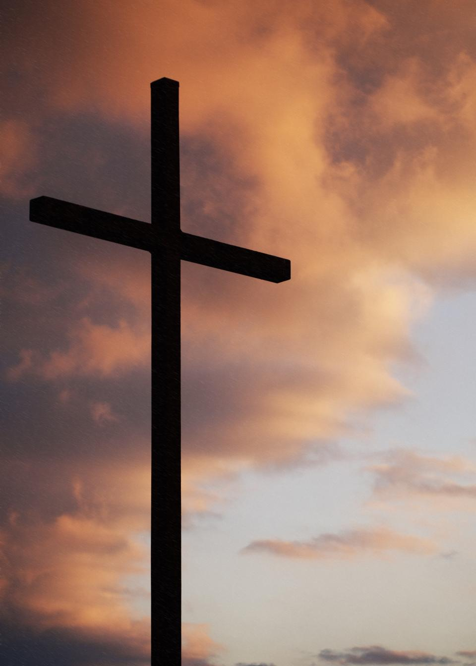 cross religion silhouette shadow sky clouds church