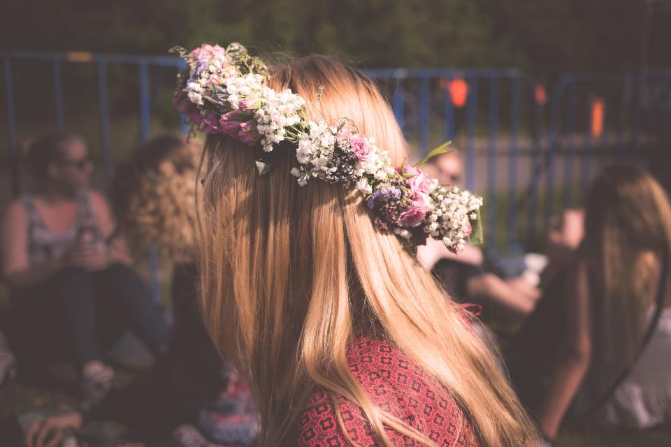 woman girl lady side view profile fashion style head wreath flowers hair people still bokeh beauty