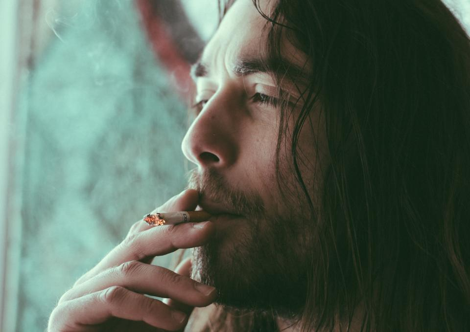 man guy beard people cigarette smoke bokeh