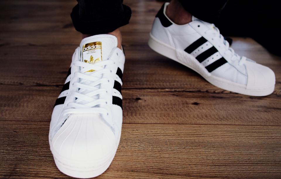 adidas white trainers sneakers vintage sport fashion people stripes wood floor