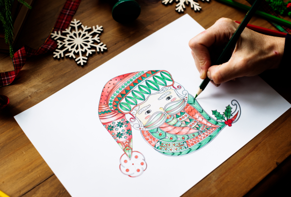 adult coloring art artistic beard beautiful christmas christmas day claus color colored colorful coloring coloring book creative creativity decorative design desk draw drawing drawn face fiction hand drawn hands holiday il