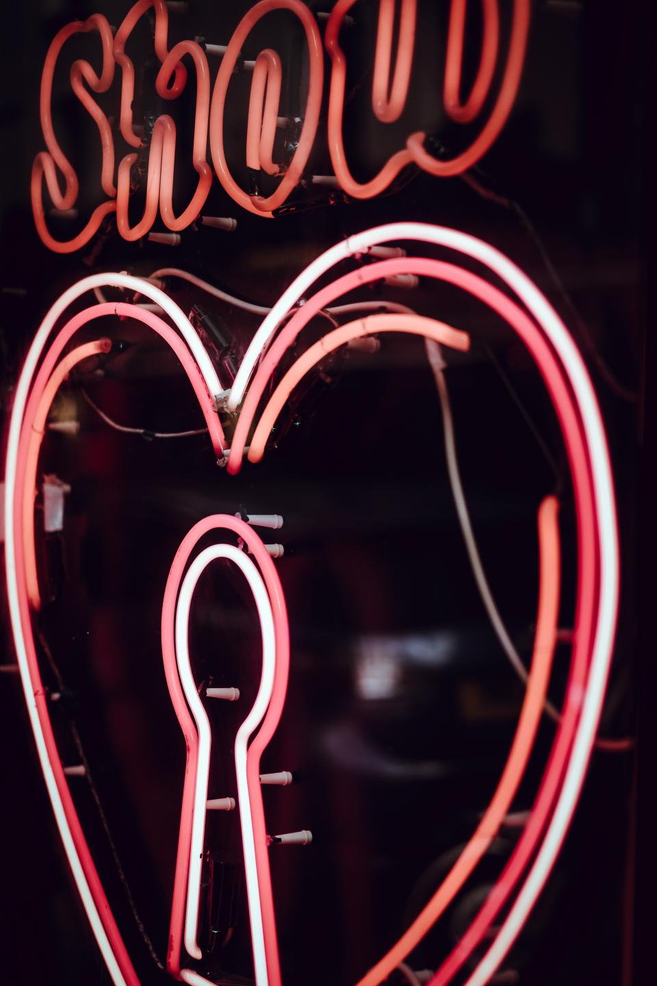 neon signage light door
