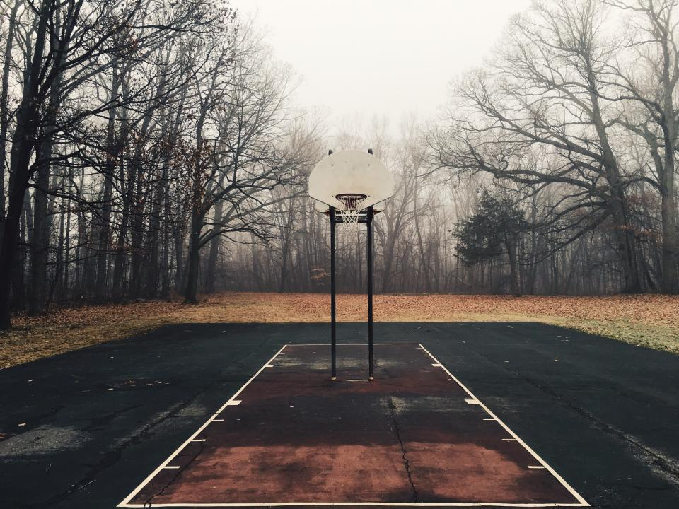basketball court net hoops yard outdoors trees leaves fall autumn forest woods sports