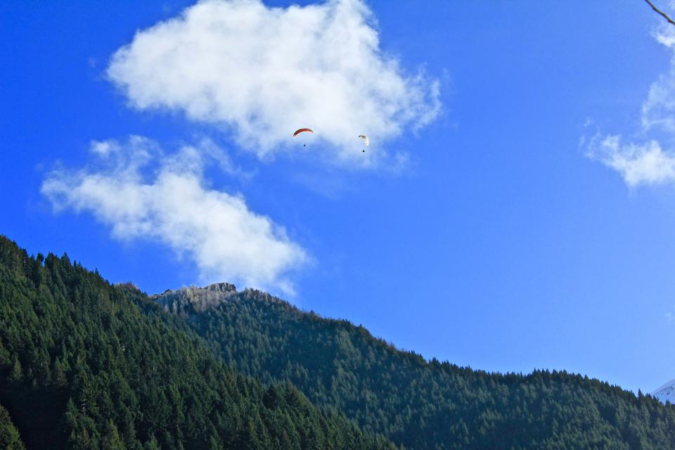nature mountain trees sky parachute clouds blue green forest woods
