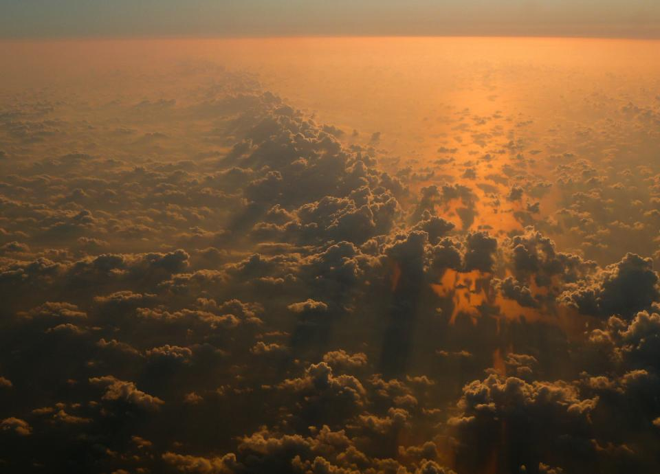 sunset above the clouds sky view aerial