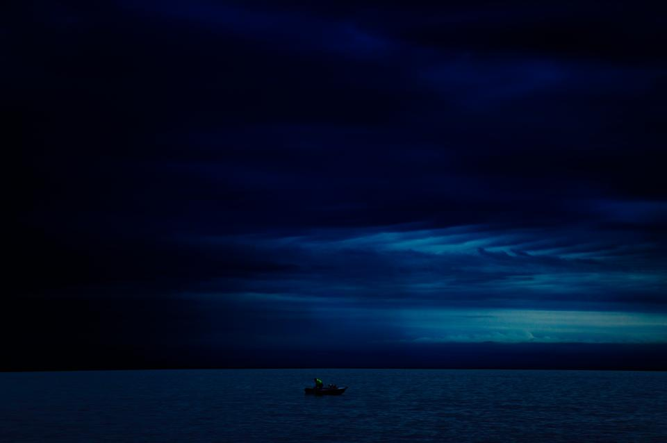 night sky clouds cloudy dark storm boat ocean sea water nature