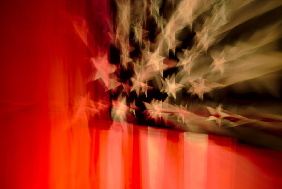 flag stars blur reflection