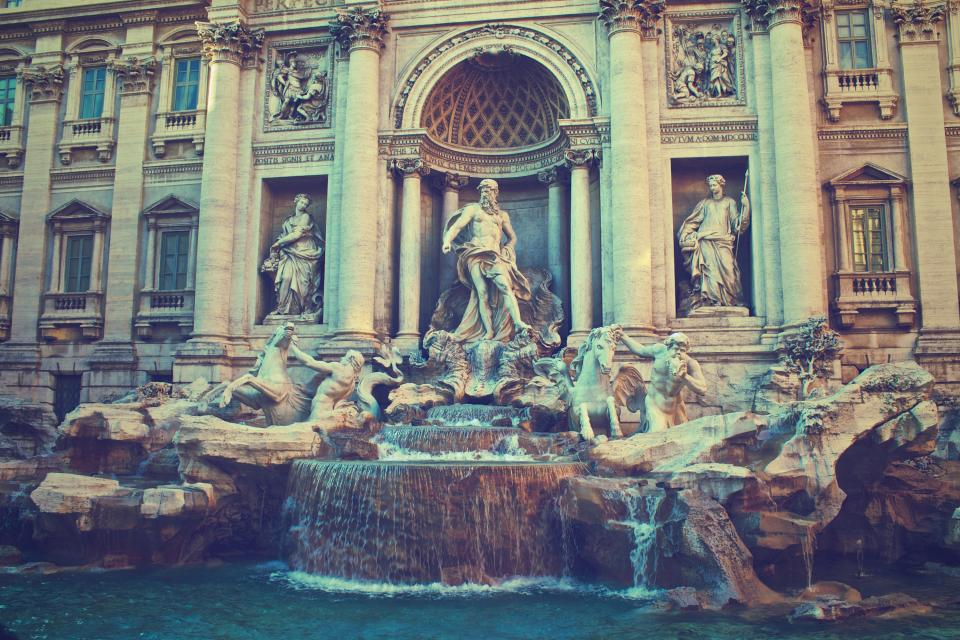 Trevi Fountain Rome Italy architecture art statues sculptures water history