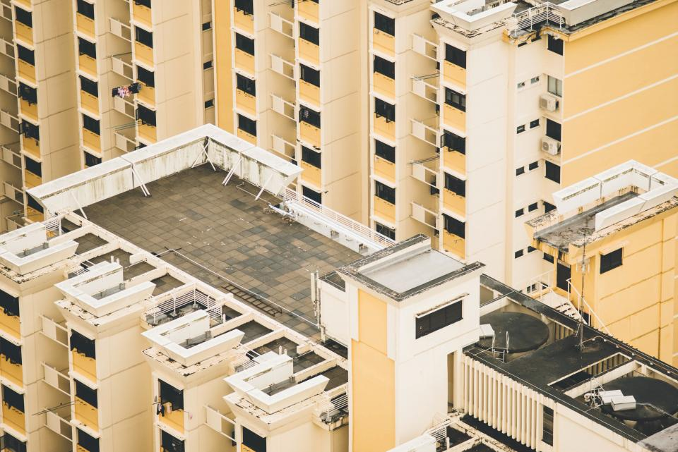apartment hotel industrial urban city yellow aerial infrastructure structure