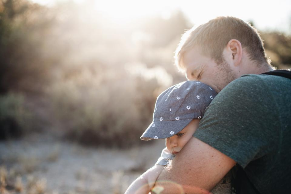 family people parent father dad baby kid child sunlight sun trees cute sweet
