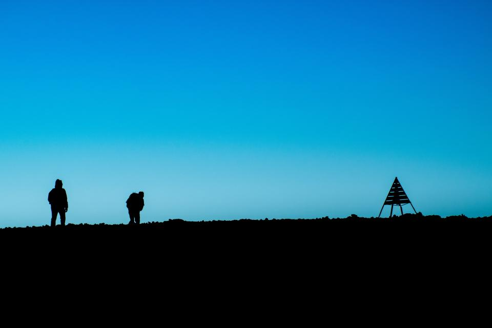 highland landscape nature dark blue sky people silhouette