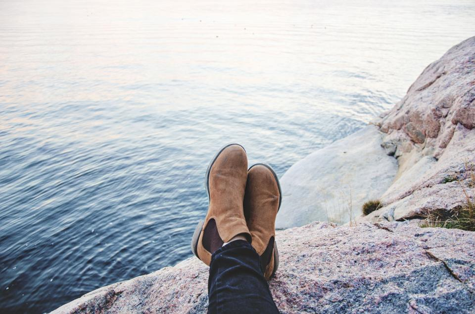 people boots water ocean sea rock chill relax travel adventure