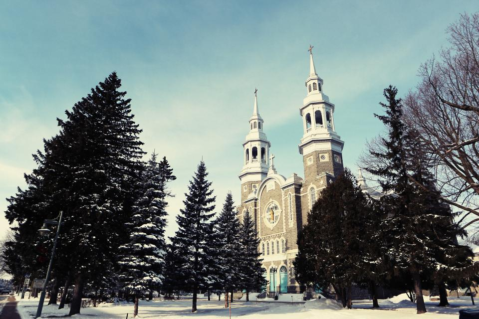 church religion christian catholic architecture cross bells arches winter snow cold trees branches sky