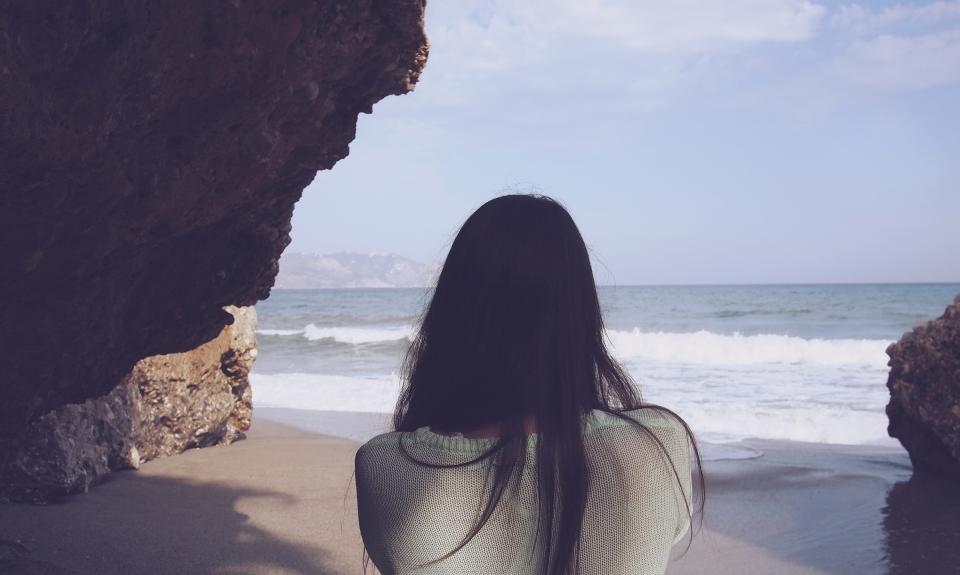 girl long hair brunette beach waves water sand ocean sea people