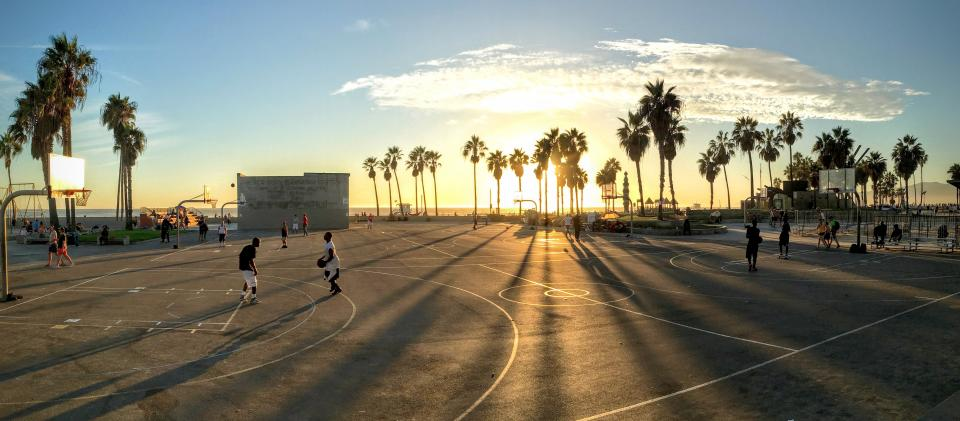 basketball sport game people men playing trees plant court clouds sky nature sunset sunrise