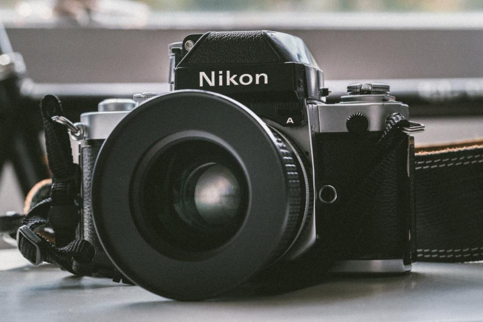 vintage camera nikon photography black and white