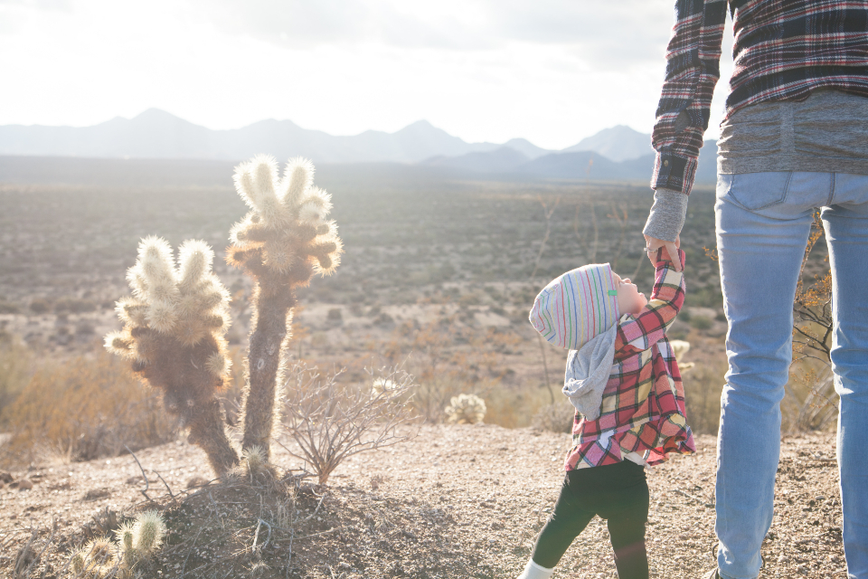 child holding hand mother baby toddler girl woman mom mum ma cactus desert travel vacation hot