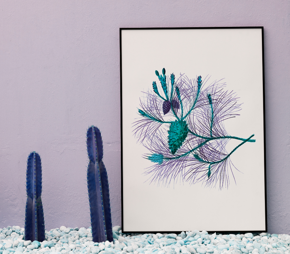 cactus decor frame home decor mockup paper paper board pastel present show space whiteboard flower botanical nature plant drawing