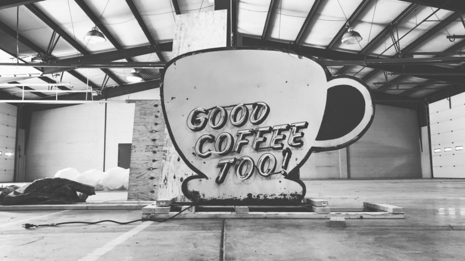Coffee sign neon warehouse black & white art design good coffee typography