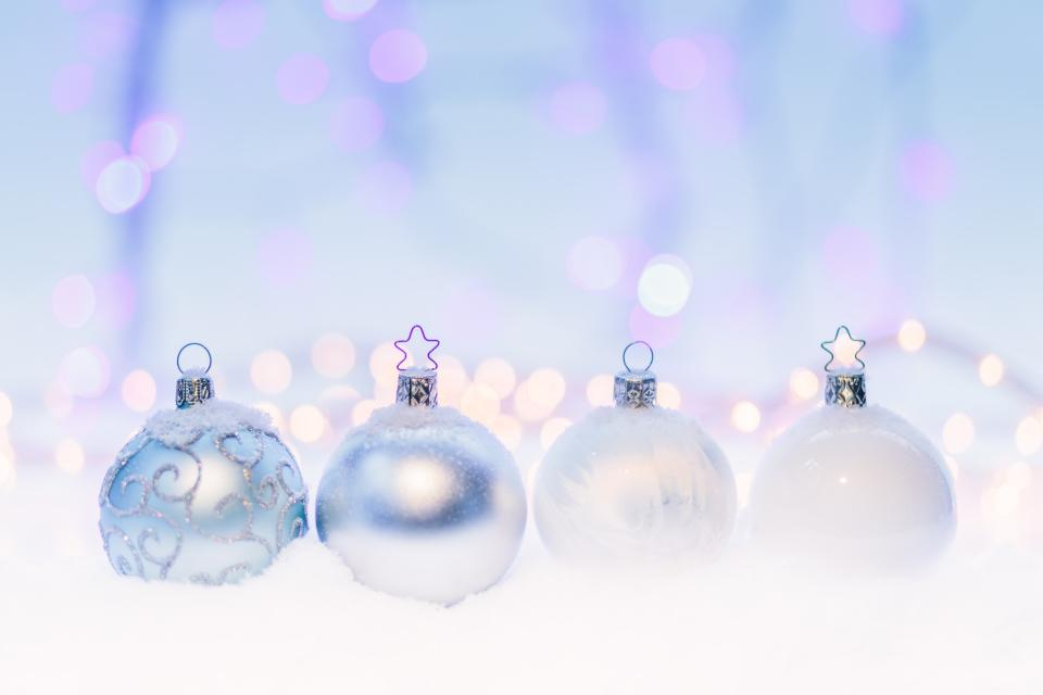 white christmas light bulb ball decoration bokeh