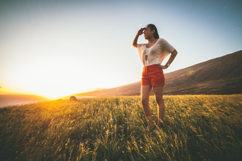 mountain highland green grass nature landscape sunlight sunset sunrise people girl smile happy beauty