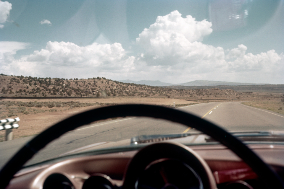 highway car vintage road america landscape auto horizon travel interior film photography retro usa sky dashboard old mountains clouds
