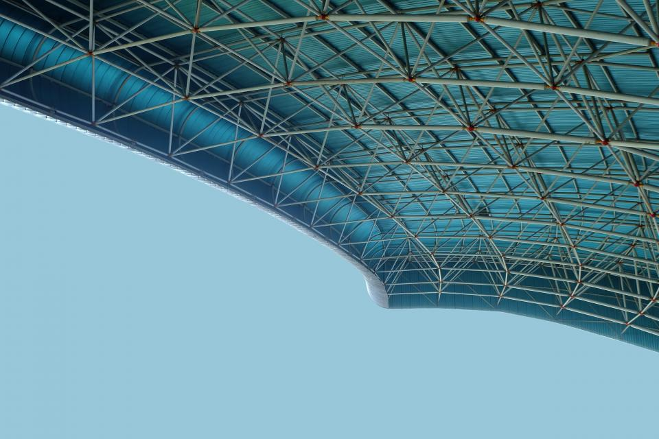 architecture building infrastructure stadium roof ceiling blue sky
