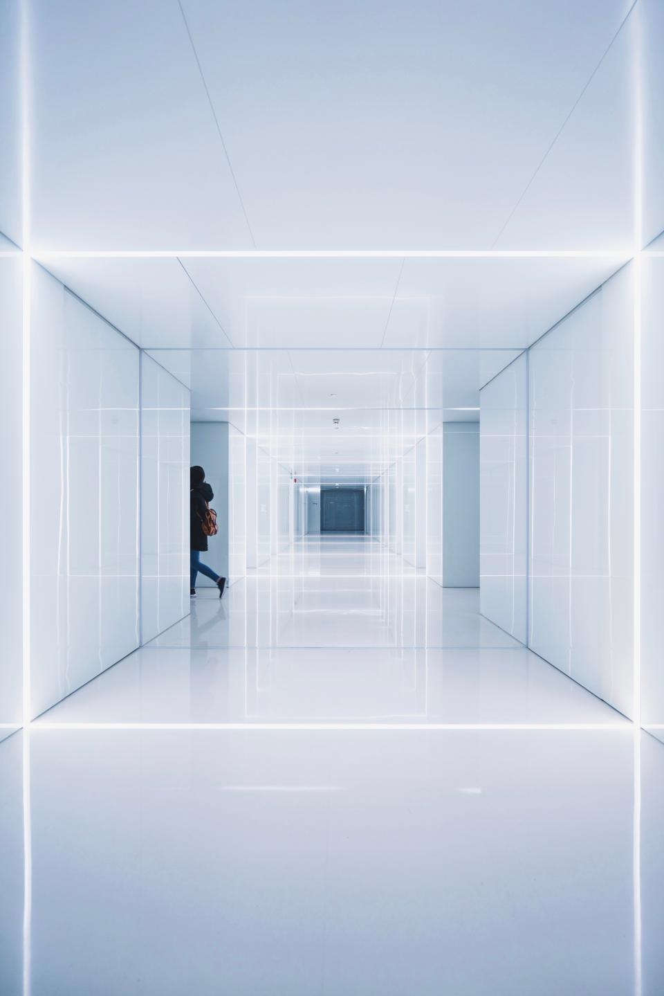 architecture building structure establishment symmetry white people hallway