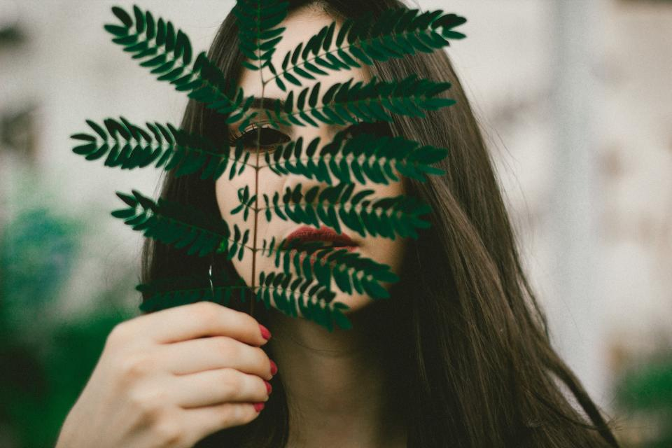 people girl woman makeup green leaf plant nature beauty blur