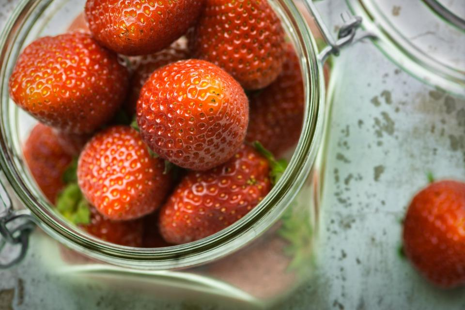red fruit strawberry glass jar desserts food fresh health blur