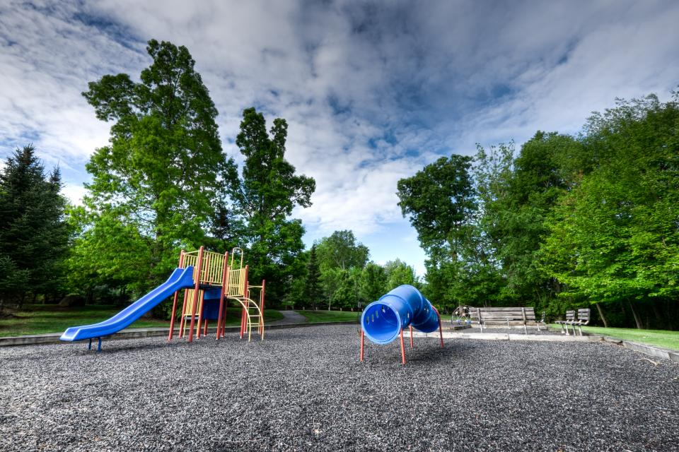 playground play set park suburbs slide fun playing spring trees sky clouds