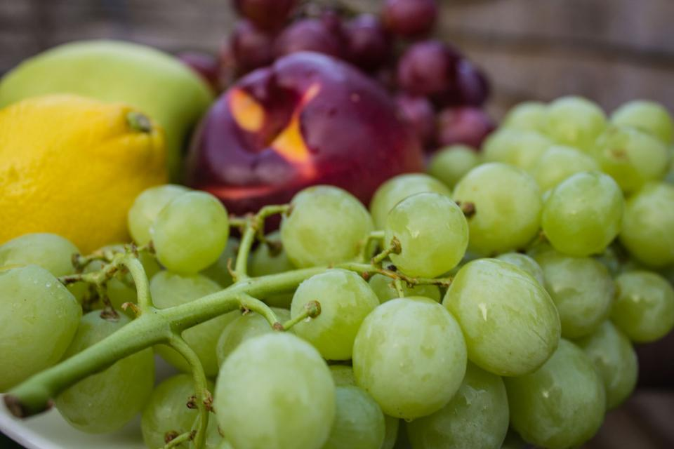 grapes lemon apples fruits healthy food