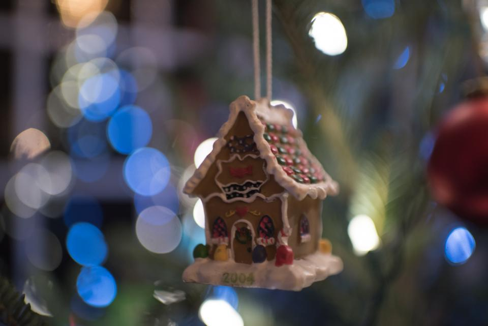 toy house christmas tree lights bokeh holiday