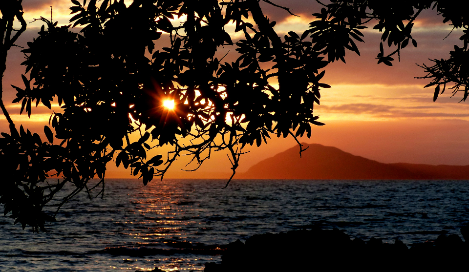 ocean sunset trees water nature outdoors sky sunrise mountains waves silhouette beautiful