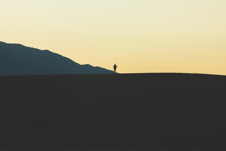 silhouette mountain guy man landscape sky adventure travel trip nature
