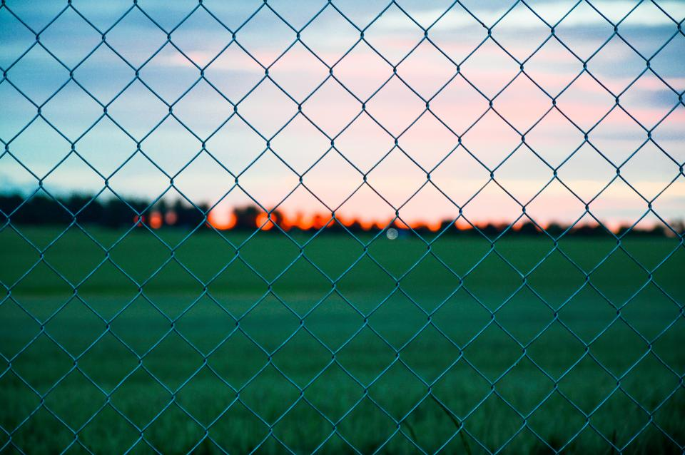chainlink fence field grass sunset dusk outdoors nature