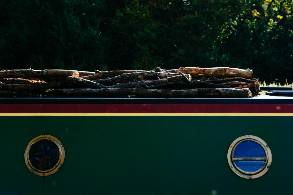 boat windows wood logs lumber