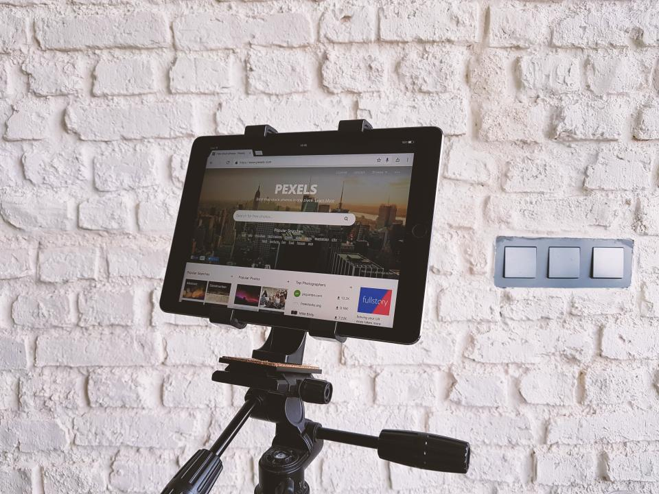 technology tablet tripod pexels website design wall black internet wall