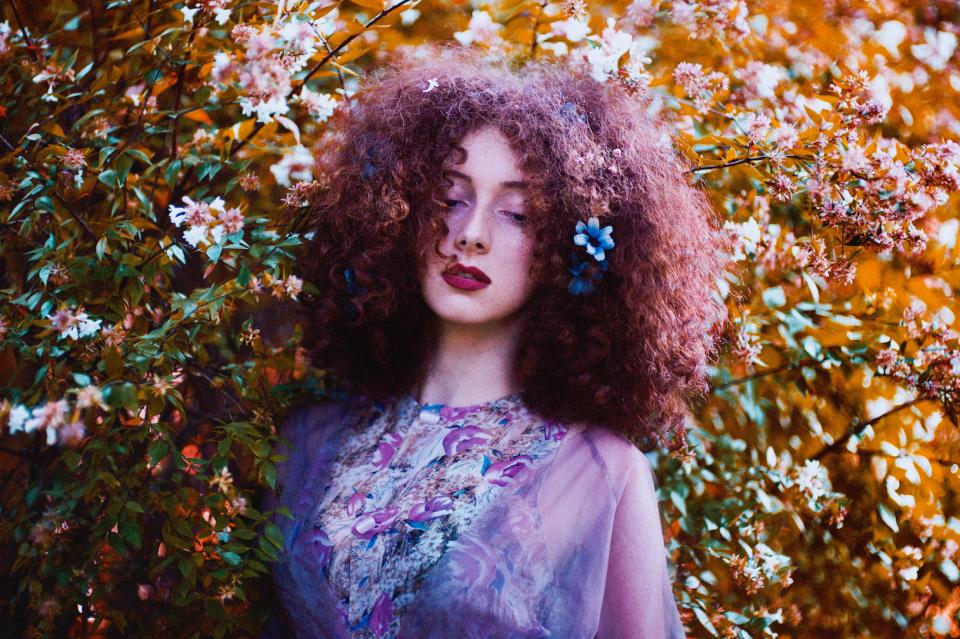 nature plants leaves flowers people girl woman lady curly hair colors purple
