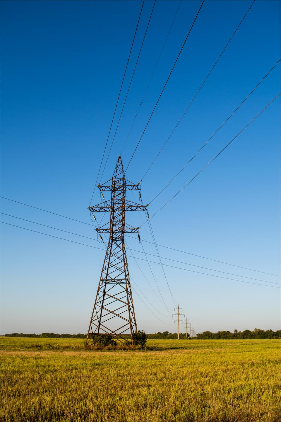 power lines grass fields blue sky electricity hydro rural country