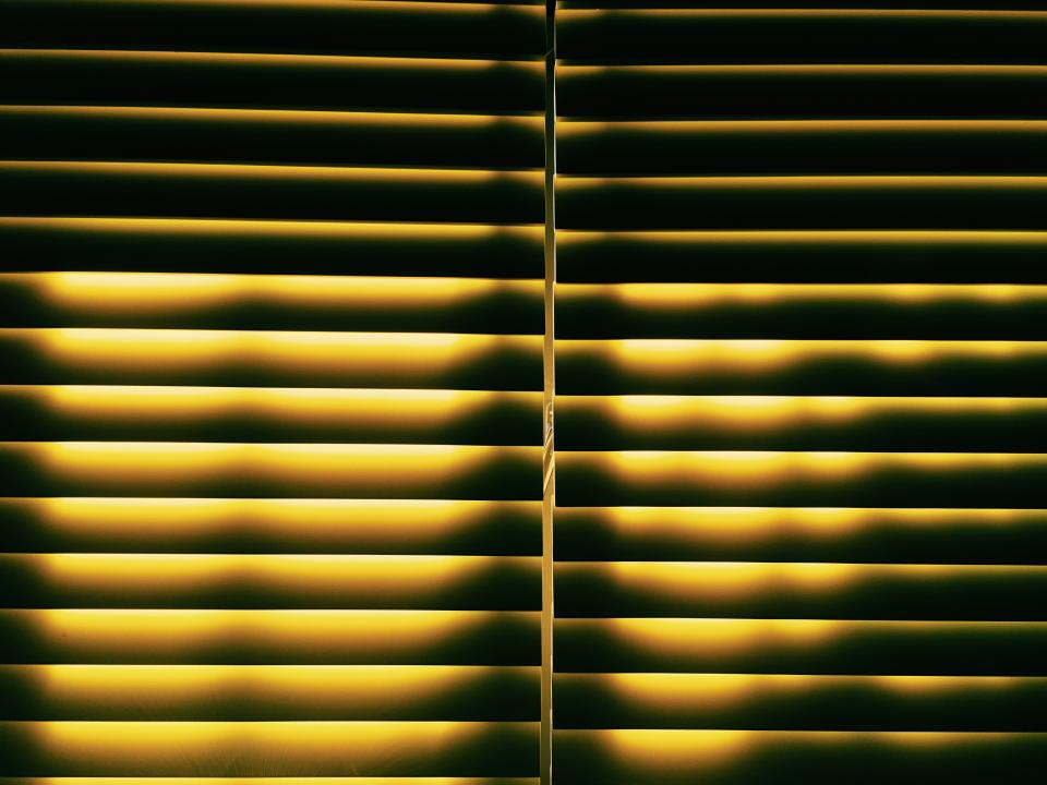 window yellow light room house blinds