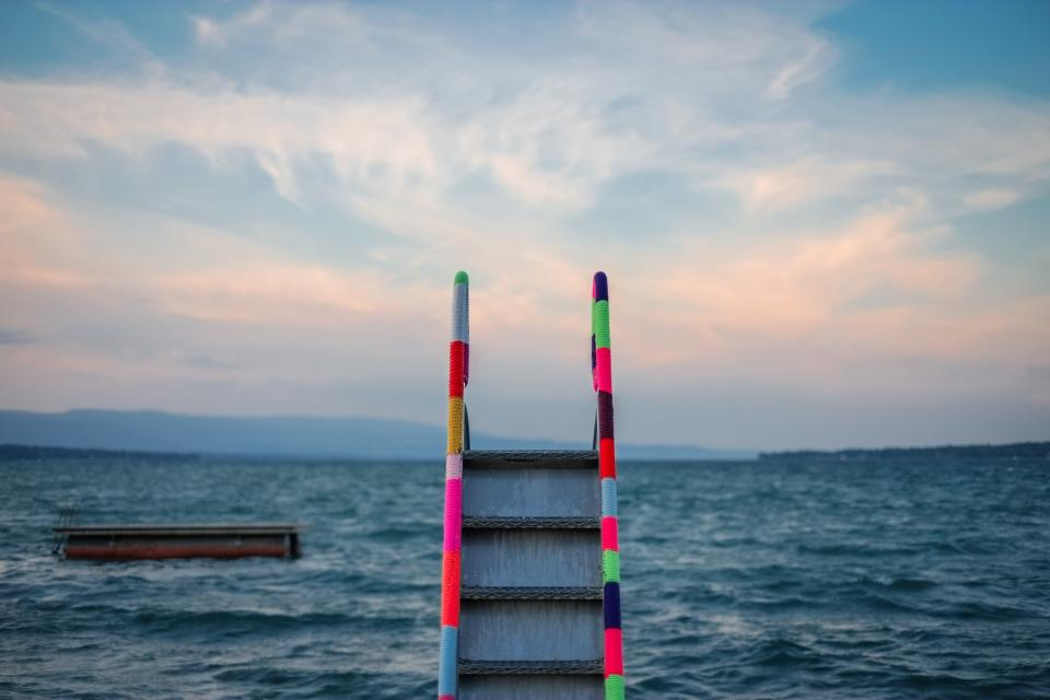 ladder steps colors water sea ocean sky clouds