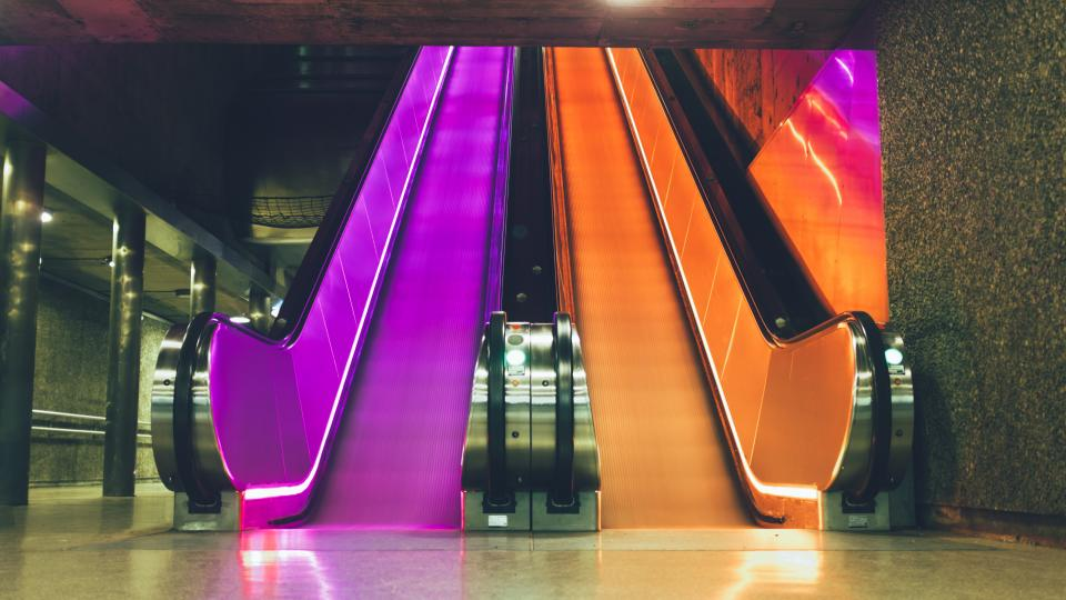escalator staircase metro subway lights neon oslo underground