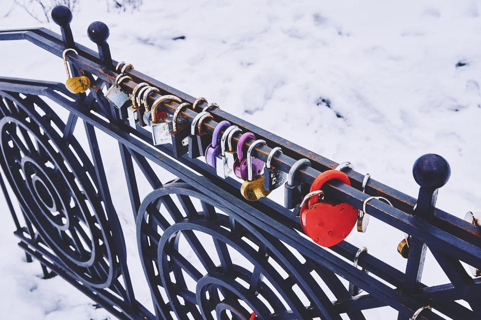 padlocks locked railing snow winter