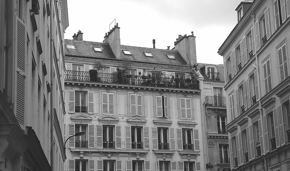 buildings apartments houses windows shutters balconies balcony france city railings black and white