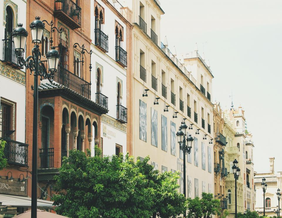 Sevilla Spain buildings architecture lamp posts urban city balconies balcony