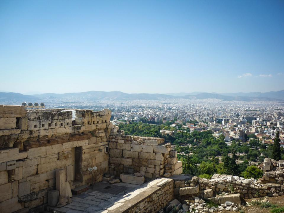 Akropolis Athens Greece lookout view city buildings