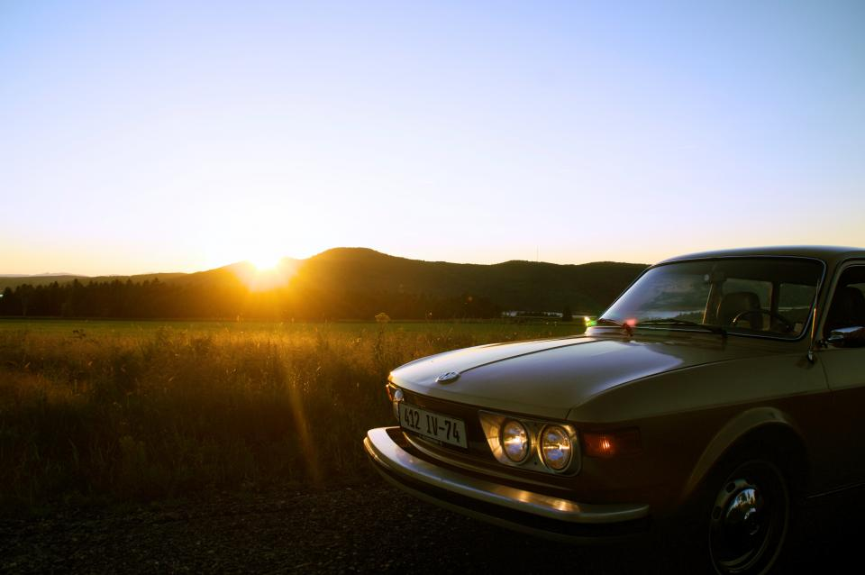 car auto vehicle travel sunlight sunset sunrise sunshine nature outdoor field farm mountain landscape view