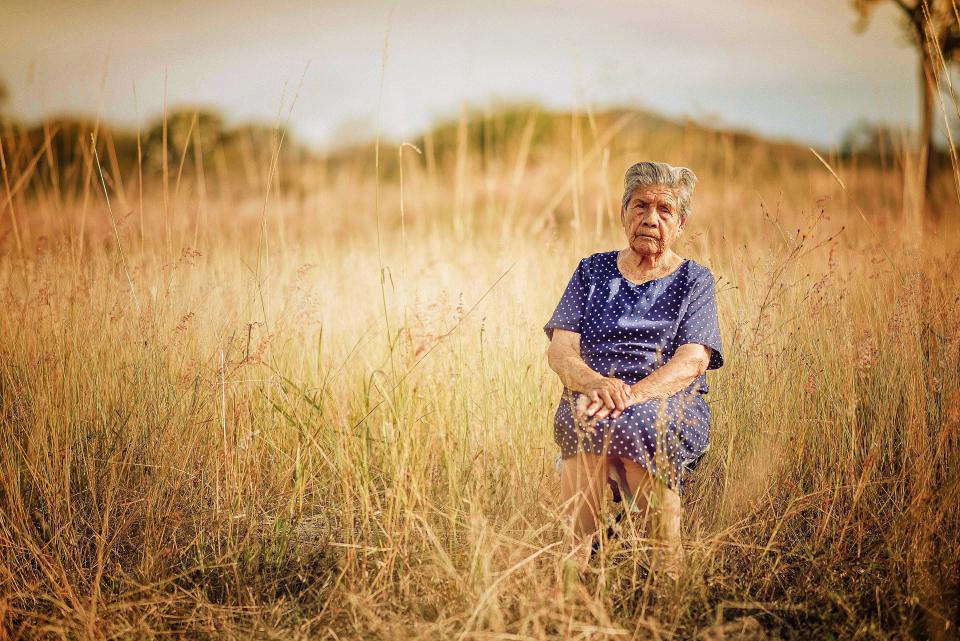 grass field farm nature outdoor old elderly people woman blur
